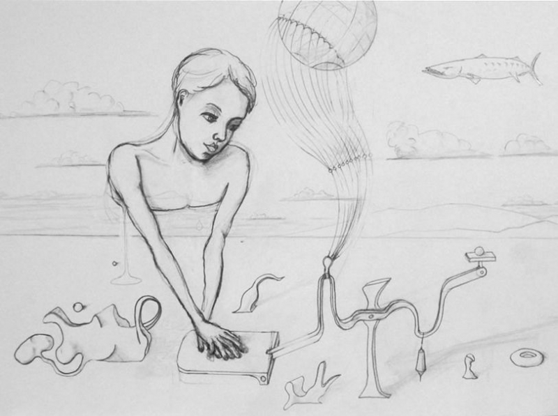 Vertex Weighs Upon Frivolity With Bouyant Intentions. Graphite on paper. 2008.
